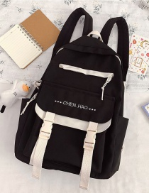 Fashion Black Without Pendant Contrast Stitching Letter Embroidery Oxford Cloth Backpack