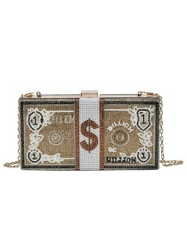 Fashion Gold Color Diamond-studded Dollar Money Poker Chain Crossbody Shoulder Bag