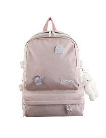 Fashion Pink Without Pendant Colorblock Letter Logo Nylon Backpack