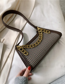 Fashion Brown Houndstooth Chain Lacquered Shoulder Bag