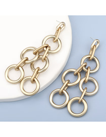 Fashion Gold Color Geometric Buckle Cross Cutout Long Earrings