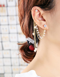 Fashion Gold Color Single One-piece Round Ear Tassel Pearl Ear Bone Clip Earrings
