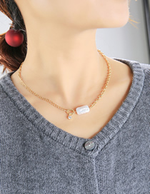 Fashion Gold Color Pearl Chain Stitching Geometric Necklace