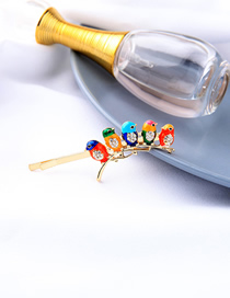 Fashion Color Mixing Little Bird Drip Glaze Diamond Alloy Hairpin