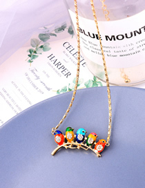 Fashion Color Mixing Small Bird Drip Glaze Diamond Alloy Pendant Necklace