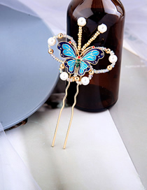 Fashion Blue Butterfly Drop Oil Diamond Pearl Hairpin
