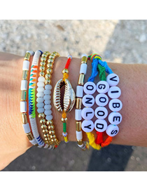 Fashion Set Price Mixed Color Hand-woven Bracelet With Zinc Alloy Enamel Beads And Diamond Letters