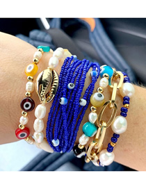 Fashion Set Price Royal Blue Glass Eye Beads Handmade Beaded Shell Eyes Multilayer Bracelet