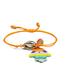 Fashion Mixed Color Shells Rice Beads Hand-woven Palm Eye Bracelet