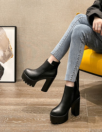 Fashion Black Car Line High-heeled Thick-soled Thick-heeled Short Boots