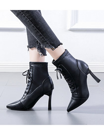 Fashion Black High Heel Pointed Toe Lace-up Ankle Boots