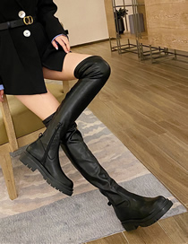 Fashion Black Platform Over-the-knee Round Toe Thick Heel Boots