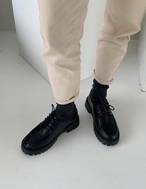 Fashion Black Lace-up Soft Leather Platform Round Toe Shoes