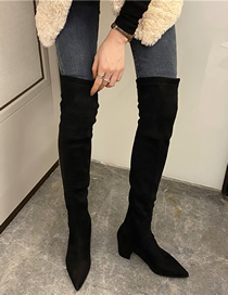 Fashion No Stars Pentagram Pointed Toe Medium Thick Heel Over The Knee Boots