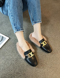 Fashion Black Flat Peas Shoes With Plush And Real Rabbit Fur