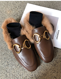 Fashion Brown Soft Leather Toe Cap Flat-bottomed Wool And Metal Buckle Half Slippers