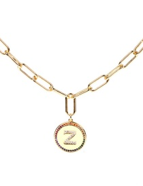 Fashion Z-50cm Letter Inlaid Crystal Diamond Round Coin Pendant Necklace