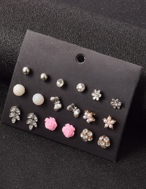 Fashion Color Mixing Resin Diamond Flower Alloy Earring Set