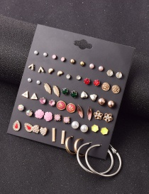 Fashion Color Mixing Alloy Set With Rhinestone Geometric Earrings