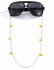 Fashion Yellow Small Daisy Beaded Thin Chain Glasses Chain