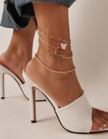 Fashion Gold Color Butterfly Letter Alloy Multilayer Anklet