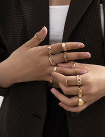 Fashion Gold Color Chain Hollow Alloy Geometric Ring Set