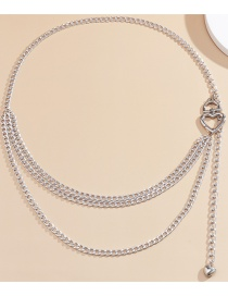 Fashion White K Heart-shaped Hollow Aluminum Waist Chain