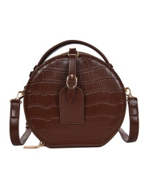 Fashion Coffee Trumpet Crossbody Shoulder Bag With Stone Pattern Round Belt Buckle