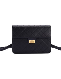 Fashion Black Lock Flap Quilted Diagonal Backpack