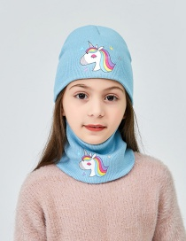 Fashion Light Blue Childrens Unicorn Knitted Hat Hat Bib Two Piece Set