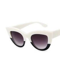 Fashion Top White And Bottom Black Cat Eye Resin Wide-brimmed Temple Sunglasses