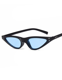 Fashion Bright Black And Blue Film Cat Eye Small Frame Too Water Drop Rice Nail Sunglasses