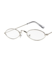 Fashion Silver Color Frame White Film Metal Small Frame Oval Frame Alloy Sunglasses
