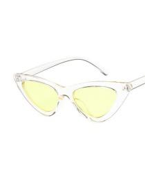 Fashion Transparent Yellow Film Triangle Cat Eye Resin Small Frame Sunglasses Sunglasses