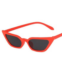 Fashion Red Ash Cat-eye Transparent Small Frame Resin Sunglasses