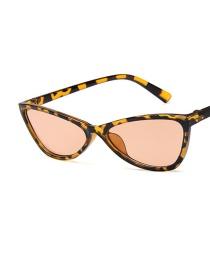 Fashion Leopard Tea Chips Cat Eye Triangle Resin Small Frame Sunglasses