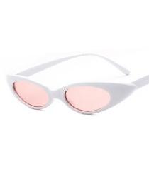 Fashion Solid White Powder Oval Frame Cat-eye Drop-shaped Metal Hinge Sunglasses