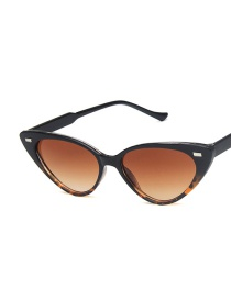 Fashion Upper Black And Lower Leopard Print Double Tea Rice Nail Triangle Cat Eye Small Frame Sunglasses