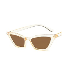 Fashion Champagne Frame Tea Color Piece Cat Eye Small Frame Resin Sunglasses