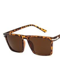 Fashion Leopard Tea Chips Square Rice Nail Resin Sunglasses