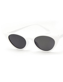 Fashion Real White Gray Flakes Cat Eye Resin Small Frame Sunglasses
