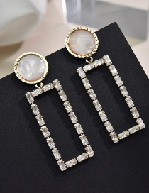 Fashion Earring Geometric Acrylic Earrings With Diamonds