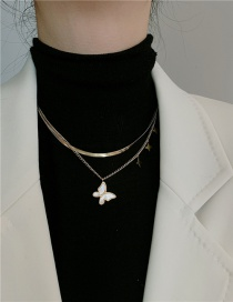 Fashion Double Chain (titanium Steel) Titanium Steel Butterfly Mother-of-pearl Metal Chain Double Necklace