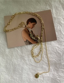 Fashion Double Chain Clause Necklace Heart Chain Gold-plated Copper Double Necklace