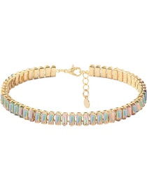 Fashion Ab Color Underrun Studded Alloy Necklace