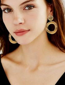 Fashion Gold Color Alloy Geometric Ring Winding Earrings