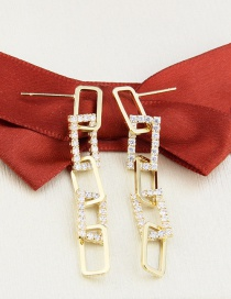 Fashion Gilded Gold-plated Copper Imitation Chain Geometric Earrings