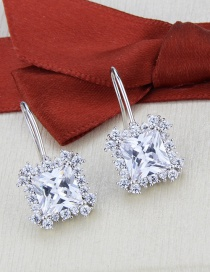 Fashion Platinum-plated White Zirconium Platinum-plated Square Zircon And Diamond Earrings
