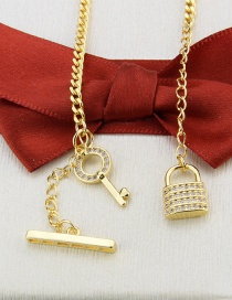 Fashion Gilded Gold-plated Key Lock Zircon Pendant Necklace