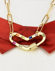 Fashion Gilded Gold-plated Screw Buckle Inlaid Zirconium Heart Pendant Necklace